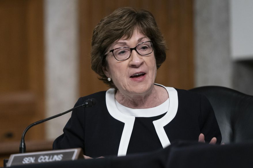 Sen. Susan Collins, R-Maine, speaks during a hearing on COVID-19 on Capitol Hill on Wednesday, Sept. 23, 2020, in Washington. (Alex Edelman/Pool via AP) **FILE**