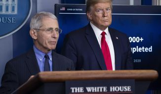 In this April 17, 2020, file photo Dr. Anthony Fauci, director of the National Institute of Allergy and Infectious Diseases, speaks about the coronavirus, as President Donald Trump listens, in the James Brady Press Briefing Room of the White House in Washington. (AP Photo/Alex Brandon, File)