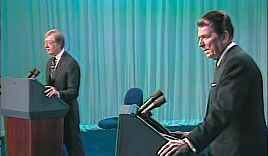 Presdident Jimmy Carter and candidate Ronald Reagan during a televised debate in 1980   Associated Press photo
