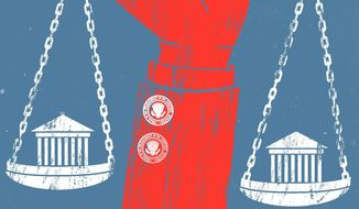 Illustration on Supreme Court nominations by Linas Garsys/The Washington Times