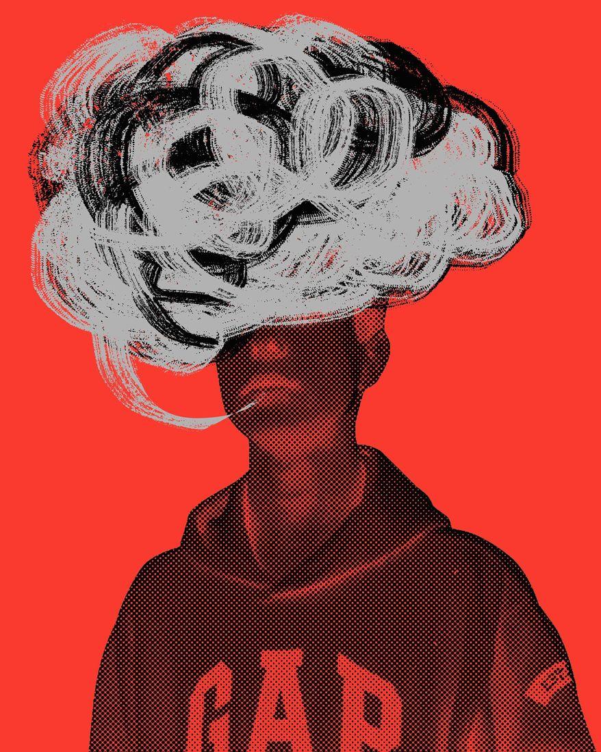 Illustration on teen vaping by Linas Garsys/The Washington Times