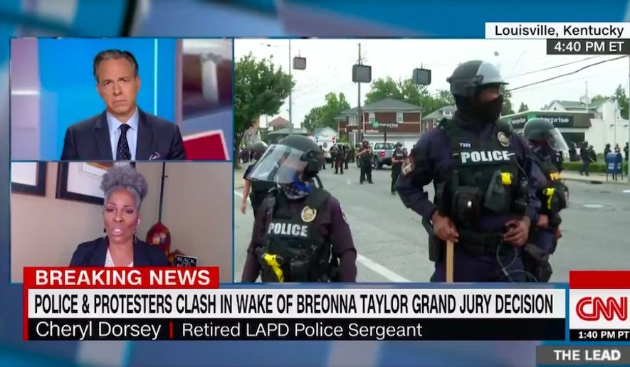 """Cheryl Dorsey, a retired Los Angeles police sergeant and Black activist and author, slammed Kentucky Republican Atty. Gen. Daniel Cameron, who is also Black, as """"not kinfolk"""" during appearances on CNN and MSNBC Wednesday. (Screen grab via CNN)"""