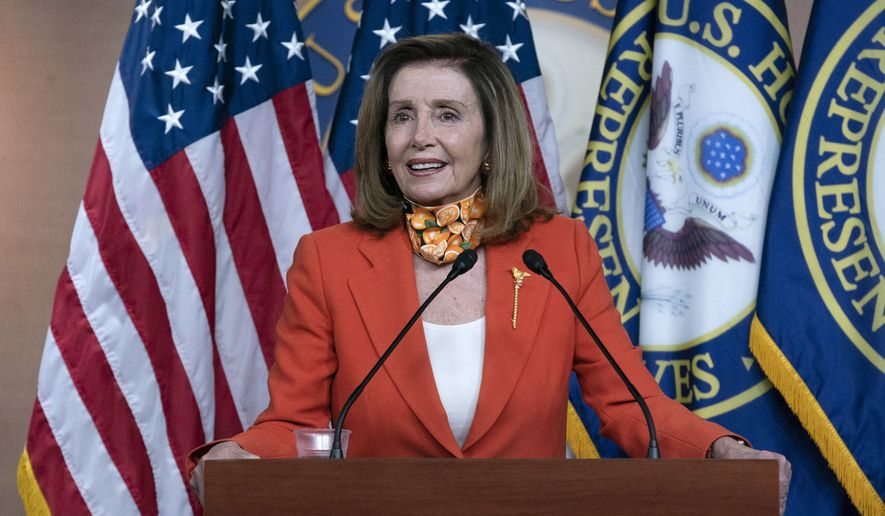 In this file photo, Speaker of the House Nancy Pelosi, D-Calif. speaks during a news conference Thursday, Sept. 24, 2020 on Capitol Hill in Washington. (AP Photo/Jose Luis Magana)  **FILE**