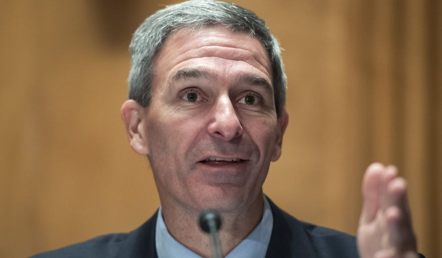 "Department of Homeland Security Acting Deputy Secretary Ken Cuccinelli testifies during a Senate Homeland Security and Governmental Affairs Committee hearing on ""Threats to the Homeland"" Thursday, Sept. 24, 2020, on Capitol Hill in Washington. (Tom Williams/Pool via AP) **FILE**"