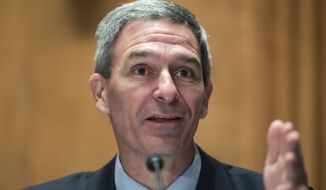 """Department of Homeland Security Acting Deputy Secretary Ken Cuccinelli testifies during a Senate Homeland Security and Governmental Affairs Committee hearing on """"Threats to the Homeland"""" Thursday, Sept. 24, 2020, on Capitol Hill in Washington. (Tom Williams/Pool via AP) **FILE**"""