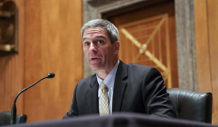 Department of Homeland Security Acting Deputy Secretary Ken Cuccinelli testifies during a Senate Homeland Security and Governmental Affairs Committee hearing to examining threats to the homeland on Capitol Hill in Washington on Thursday, Sept. 24, 2020. (Joshua Roberts/Pool via AP)