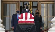 President Donald Trump and first lady Melania Trump pay respects as Justice Ruth Bader Ginsburg lies in repose at the Supreme Court building on Thursday, Sept. 24, 2020, in Washington. Ginsburg, 87, died of cancer on Sept. 18. (AP Photo/J. Scott Applewhite)
