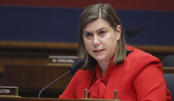 """Rep. Elissa Slotkin, D-Mich., questions witnesses during a House Committee on Homeland Security hearing on """"worldwide threats to the homeland,"""" on Thursday, Sept. 17, 2020, on Capitol Hill Washington. (Chip Somodevilla/Pool via AP) ** FILE **"""