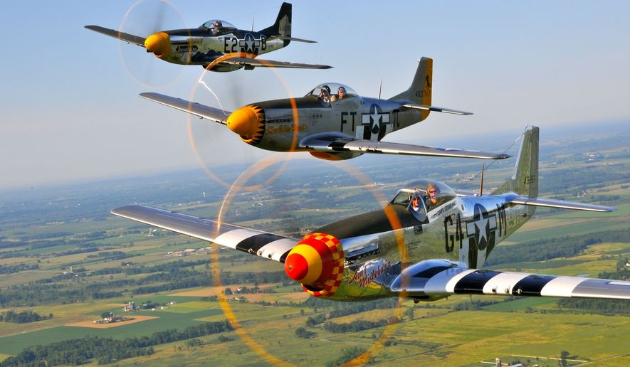 The lineup includes the Spitfires and Hurricanes that defended England during 1940s Battle of Britain and a pair of B-29 Superfortresses similar to the Enola Gay, which dropped the first atomic bomb on Japan in August 1945. (Image from Facebook.com/ww2flyover\)