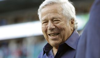 In this Feb. 2, 2020, file photo, New England Patriots owner Robert Kraft walks on the field before the NFL Super Bowl 54 football game between the San Francisco 49ers and Kansas City Chiefs, in Miami Gardens, Fla. Florida prosecutors dropped a misdemeanor charge against New England Patriots owner Kraft on Thursday, Sept. 24, 2020, saying they couldn't go forward after courts blocked their use of video that allegedly shows him paying for massage parlor sex. (AP Photo/Wilfredo Lee, File) **FILE**