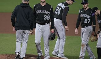 Colorado Rockies starting pitcher Ryan Castellani (38) is removed by manager Bud Black, left, during the fifth inning against the San Francisco Giants in a baseball game Wednesday, Sept. 23, 2020, in San Francisco. (AP Photo/Tony Avelar)