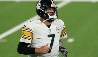 Pittsburgh Steelers quarterback Ben Roethlisberger (7) jogs off the field during the second quarter of an NFL football game against the New York Giants Monday, Sept. 14, 2020, in East Rutherford, N.J. (AP Photo/Seth Wenig)