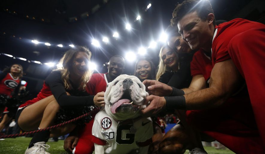 """Georgia cheerleaders pose with the school mascot """"Uga"""" before the Sugar Bowl NCAA college football game against Baylor in New Orleans, Wednesday, Jan. 1, 2020. Football is being played in the Power Five conferences, but many of the longstanding traditions that go along with the games are on hold during the pandemic. Georgia's white English bulldog Uga and other live animal mascots won't be in SEC stadiums because of the conference's precautions against coronavirus. (AP Photo/Brett Duke, file)  **FILE**"""