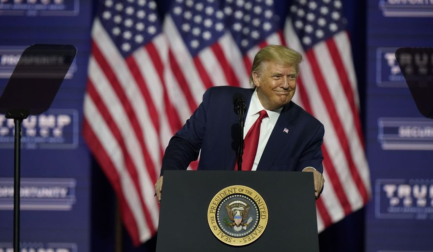 President Donald Trump speaks during a campaign rally, Friday, Sept. 25, 2020, in Atlanta. (AP Photo/John Bazemore)