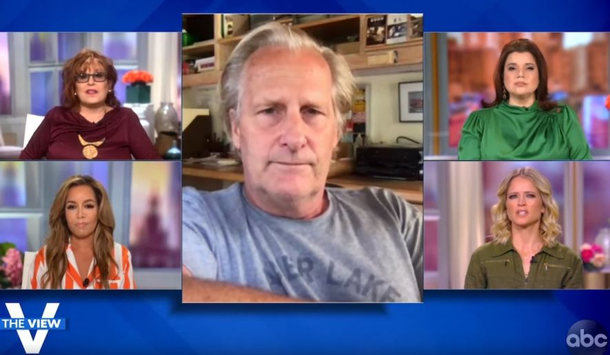 """Actor Jeff Daniels talks about the 2020 election with the ladies of """"The View,"""" Sept. 25, 2020. (Image: ABC, """"The View,"""" video screenshot)"""