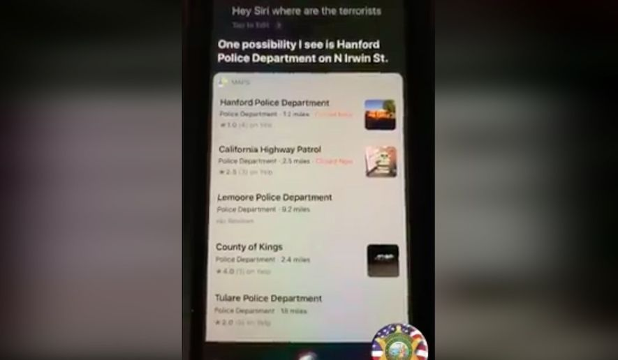 """Apple Inc. said it has fixed an error that appeared to point users to local police departments when asked, """"Hey Siri, where are the terrorists?"""" (Screengrab via Facebook/@Kings County Deputy Sheriff's Association)"""
