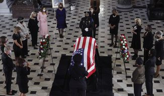 Women members of Congress pay their respects as the flag-draped casket of Justice Ruth Bader Ginsburg lies in state at the U.S. Capitol, Friday, Sept. 25, 2020, in Washington. (Chip Somodevilla/Pool via AP)