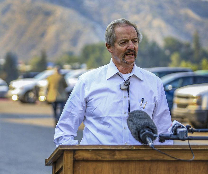 In this Aug. 14, 2020, file photo, William Perry Pendley, acting director of the Bureau of Land Management, speaks to the media on the Grizzly Creek Fire in Eagle, Colo. A federal judge has ruled that the Trump administration's leading steward of public lands has been serving unlawfully and blocked him from continuing in the position. U.S. District Judge Brian Morris said Friday, Sept. 25, 2020, that U.S. Bureau of Land Management acting director William Perry Pendley was never confirmed to the post by the U.S. Senate and served unlawfully for 424 days. Montana's Democratic governor had sued to remove Pendley, saying the the former oil industry attorney was illegally overseeing a government agency that manages almost a quarter-billion acres of land, primarily in the U.S. West. (Chris Dillmann/Vail Daily via AP, File)