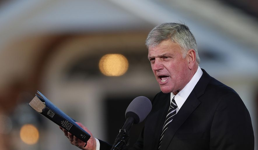 In this March 2, 2018, photo, Pastor Franklin Graham speaks during a funeral service at the Billy Graham Library for the Rev. Billy Graham, who died last week at age 99 in Charlotte, N.C. (AP Photo/John Bazemore) **FILE**