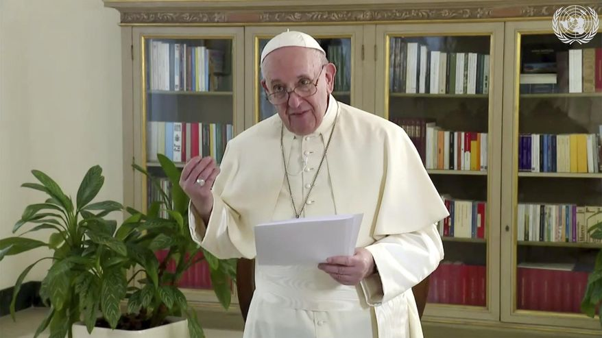 In this image made from UNTV video, Pope Francis speaks in a pre-recorded message which was played during the 75th session of the United Nations General Assembly, Friday, Sept. 25, 2020, at UN headquarters, in New York. (UNTV via AP)