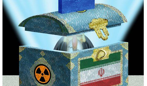 Illustration on Trump and Iran by Alexander Hunter/The Washington Times