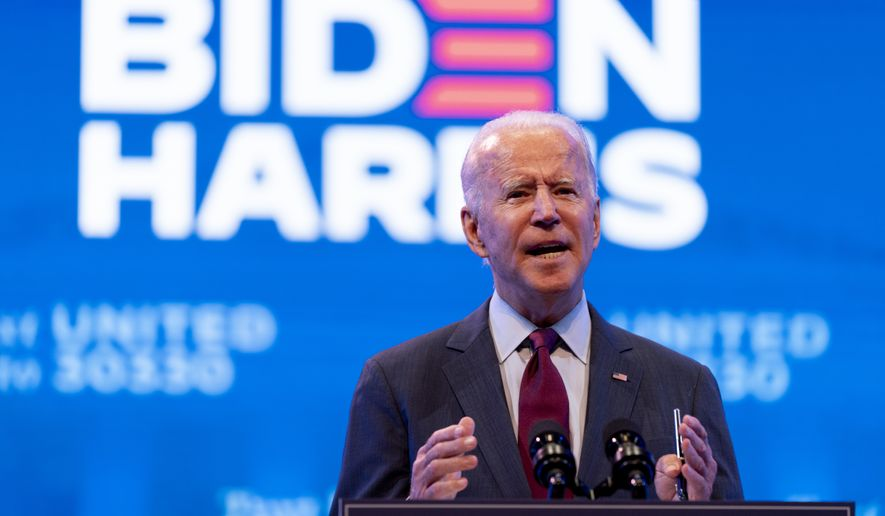 Democratic presidential candidate former Vice President Joe Biden gives a speech on the Supreme Court at The Queen Theater in Wilmington, Del., Sunday, Sept. 27, 2020. (AP Photo/Andrew Harnik)
