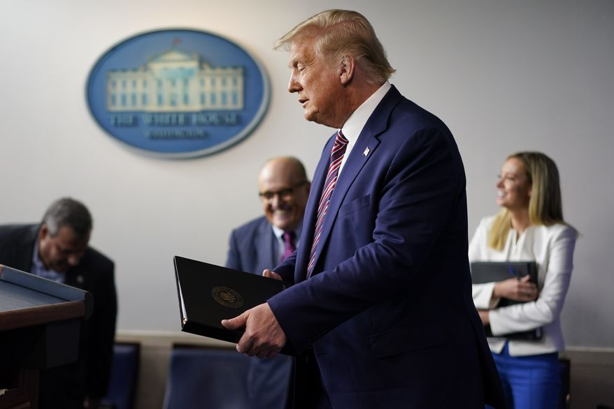 President Donald Trump walk towards the podium to begin speaking during a news conference at the White House, Sunday, Sept. 27, 2020, in Washington. (AP Photo/Carolyn Kaster)