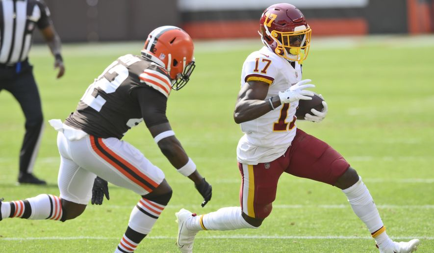 Washington Football Team wide receiver Terry McLaurin (17) rushes during the first half of an NFL football game against the Cleveland Browns, Sunday, Sept. 27, 2020, in Cleveland. (AP Photo/David Richard)  **FILE**