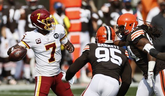 Washington Football Team quarterback Dwayne Haskins (7) looks to throw during the first half of an NFL football game against the Cleveland Browns, Sunday, Sept. 27, 2020, in Cleveland. (AP Photo/Ron Schwane)