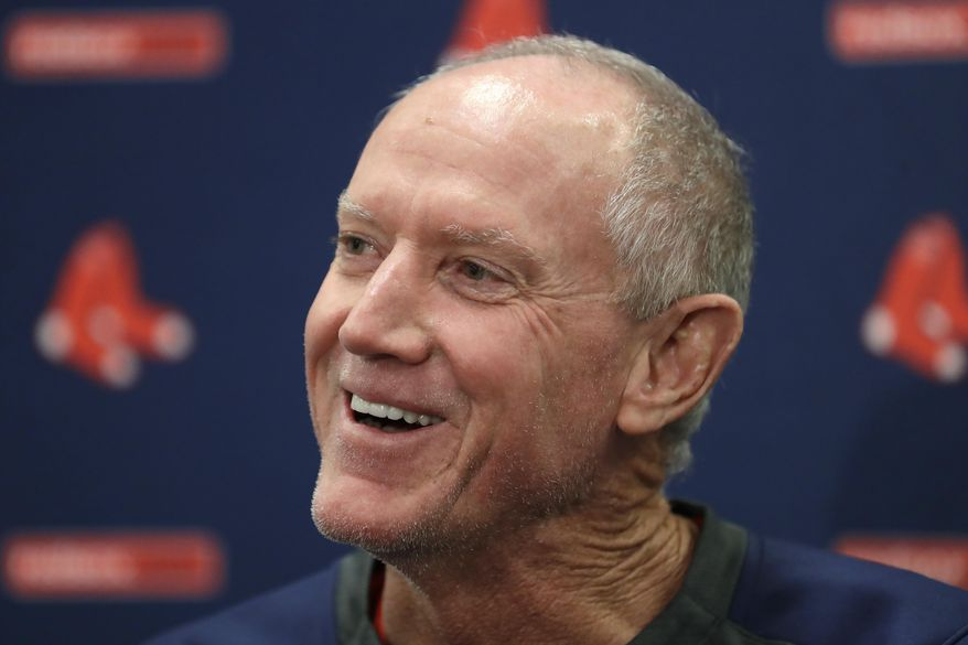 FILE - Ron Roenicke speaks after being named interim manager of the Boston Red Sox baseball team in Fort Myers, Fla., in this Feb. 11, 2020 file photo. Ron Roenicke was told he will not return as manager of the Boston Red Sox, ending a one-year, shotgun stopgap on the final day of a pandemic-shortened season that resulted in a last-place finish in the AL East. (AP Photo/John Bazemore, File)