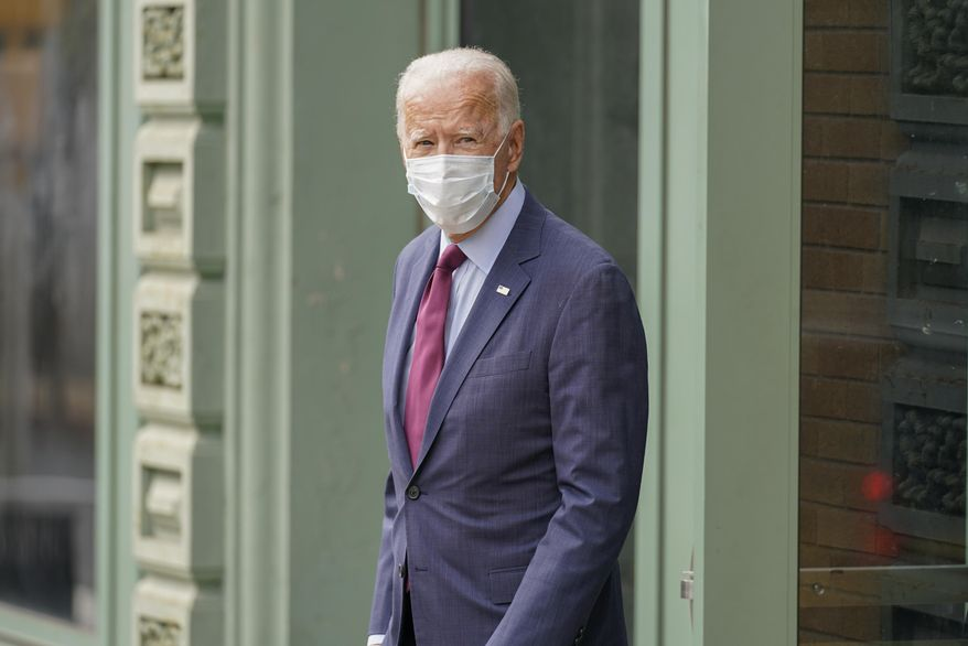 Democratic presidential candidate former Vice President Joe Biden is seen leaving the Queen Theater, after giving a speech on the Supreme Court, Sunday, Sept. 27, 2020, in Wilmington, Del. (AP Photo/Andrew Harnik)