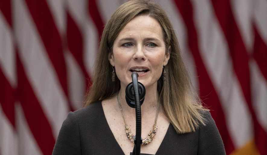 Judge Amy Coney Barrett speaks after President Donald Trump announced her as his nominee to the Supreme Court, in the Rose Garden at the White House, Saturday, Sept. 26, 2020, in Washington. (AP Photo/Alex Brandon)