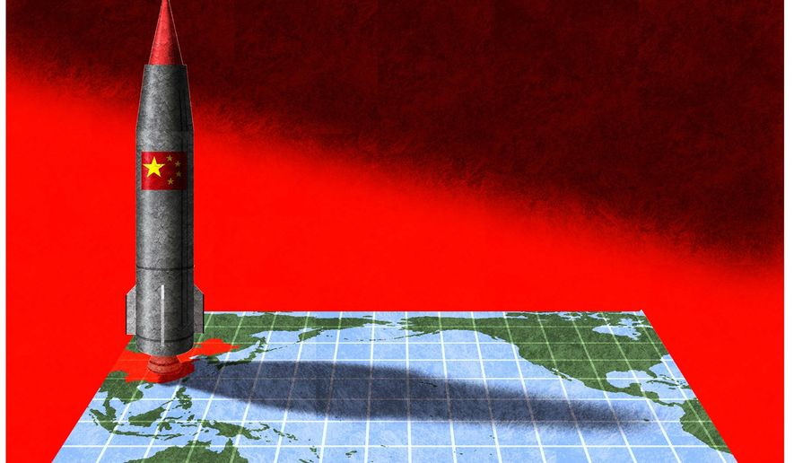 Illustration on China's Pacific missile threat by Alexander Hunter/The Washington Times