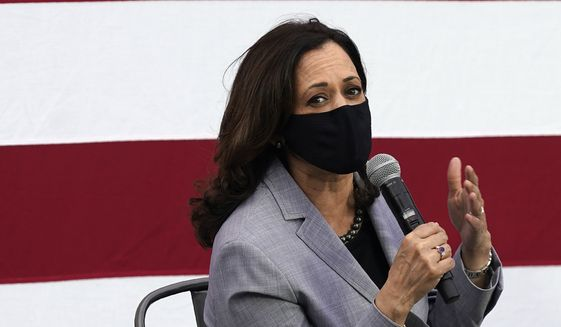 Democratic vice presidential candidate Sen. Kamala Harris, D-Calif., speaks at a roundtable discussion during a campaign visit in Raleigh, N.C., Monday, Sept. 28, 2020. (AP Photo/Gerry Broome)