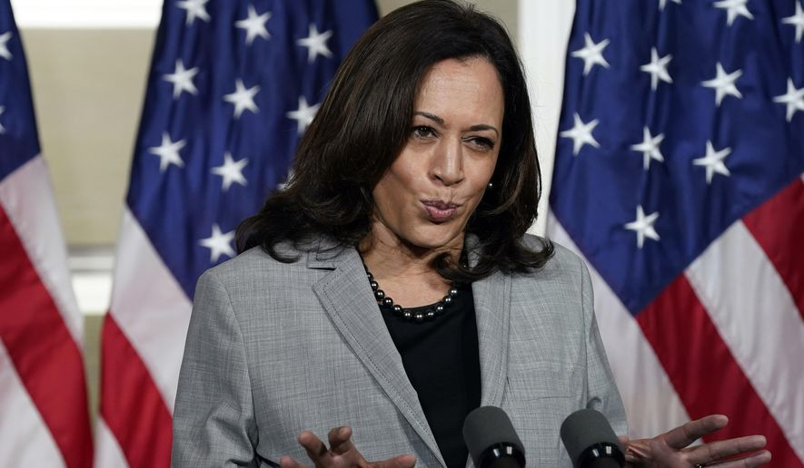 Democratic vice presidential candidate Sen. Kamala Harris, D-Calif., speaks at Shaw University during a campaign visit in Raleigh, N.C., Monday, Sept. 28, 2020. (AP Photo/Gerry Broome)