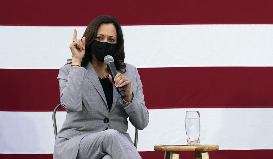 Democratic vice-presidential candidate Sen. Kamala Harris, D-Calif., speaks at a roundtable discussion during a campaign visit in Raleigh, N.C., Monday, Sept. 28, 2020. (AP Photo/Gerry Broome)