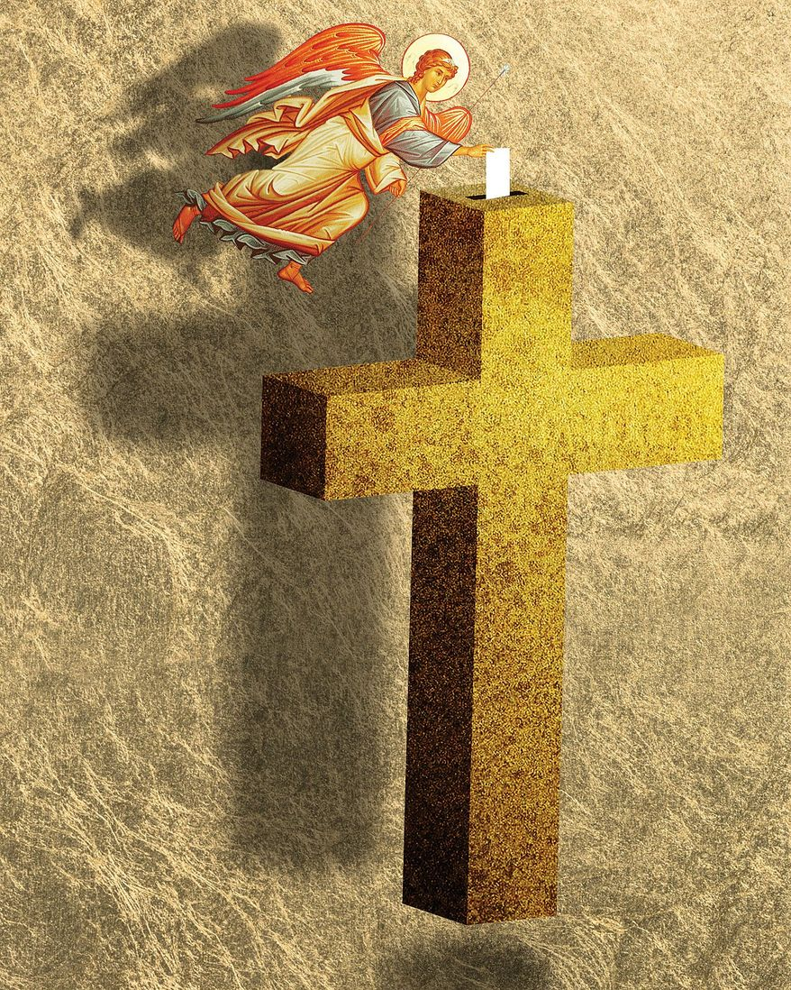 Illustration on voting and faith by Linas Garsys/The Washington Times