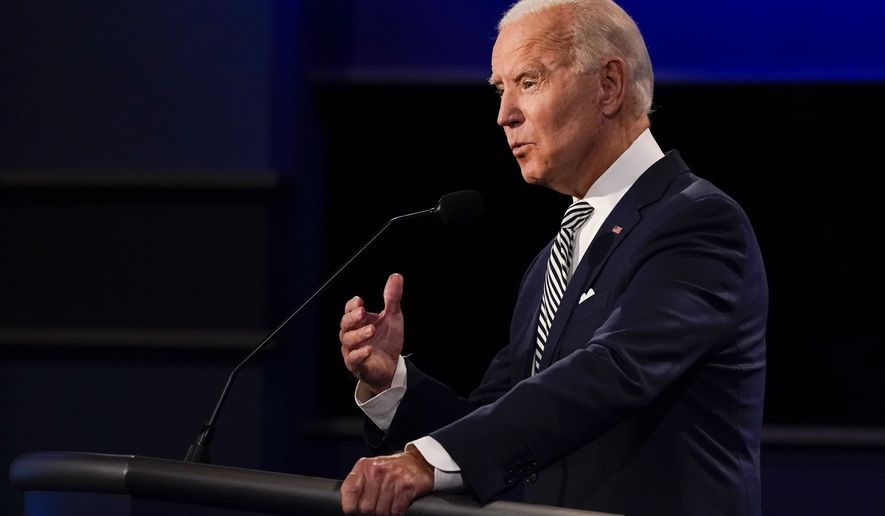 Democratic presidential candidate former Vice President Joe Biden speaking during the first presidential debate Tuesday, Sept. 29, 2020, at Case Western University and Cleveland Clinic, in Cleveland, Ohio. (AP Photo/Julio Cortez)