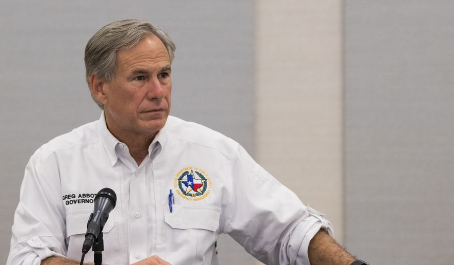 Texas Gov. Greg Abbott visits Lake Jackson, Texas, on Tuesday, Sept. 29, 2020. A Houston-area official says it will take 60 days to ensure a city drinking water system is purged of a deadly, microscopic parasite that led to warnings over the weekend not to drink tap water. Lake Jackson City Manager Modesto Mundo said Monday that three of 11 samples of the city's water indicated preliminary positive results for the naegleria fowleri microbe. (Marie D. De Jesús/Houston Chronicle via AP) **FILE**