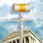 Illustration on the Catholic vote and the Supreme Court by Linas Garsys/The Washington times