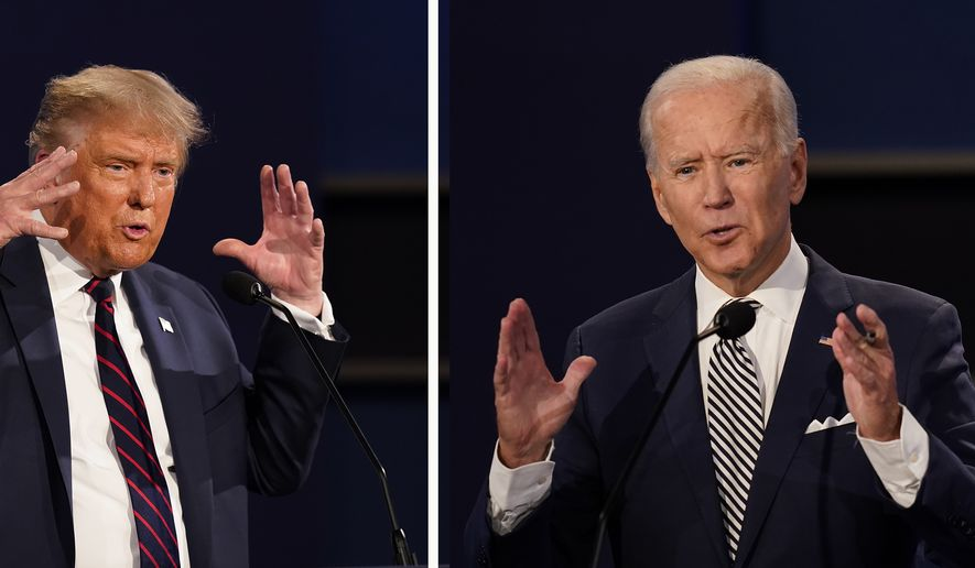 In this combination image of two photos showing both President Donald Trump, left, and former Vice President Joe Biden during the first presidential debate Tuesday, Sept. 29, 2020, at Case Western University and Cleveland Clinic, in Cleveland, Ohio. (AP Photo/Patrick Semansky)