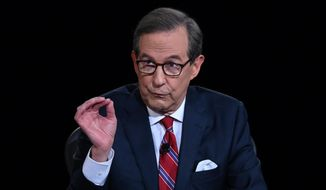 Moderator Chris Wallace of Fox News speaks as President Donald Trump and Democratic presidential candidate former Vice President Joe Biden participate in the first presidential debate Tuesday, Sept. 29, 2020, at Case Western University and Cleveland Clinic, in Cleveland. (Olivier Douliery/Pool vi AP)
