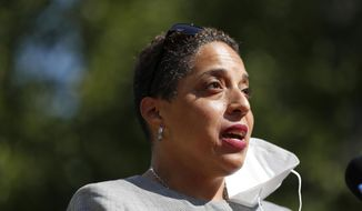 FILE - In this Aug. 5, 2020, file photo, St. Louis Circuit Attorney Kim Gardner speaks during a news conference in St. Louis. A federal judge has blasted Gardner's legal claims she was the victim of a coordinated and racist conspiracy aimed at forcing her out of office in tossing out her federal civil rights lawsuit. (AP Photo/Jeff Roberson, File)