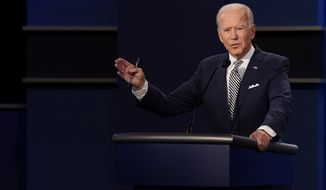 Democratic presidential candidate former Vice President Joe Biden during the first presidential debate Tuesday, Sept. 29, 2020, at Case Western University and Cleveland Clinic, in Cleveland, Ohio. (AP Photo/Patrick Semansky)