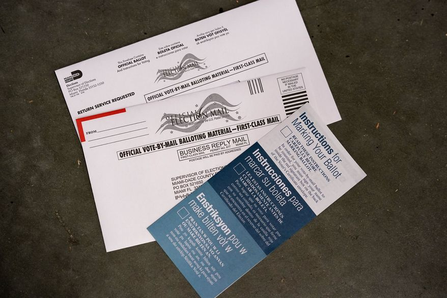 A sample of a vote-by-mail ballot is shown at the Miami-Dade County Elections Department, Thursday, Oct. 1, 2020, in Doral, Fla. The department mailed out more than 530,000 vote-by-mail ballots Thursday to voters that requested them for the Nov. 3 general election. (AP Photo/Wilfredo Lee)