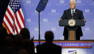 Vice President Mike Pence speaks at an event hosted by The Family Leader Foundation Thursday, Oct. 1, 2020, in Des Moines, Iowa. (AP Photo/Charlie Neibergall)