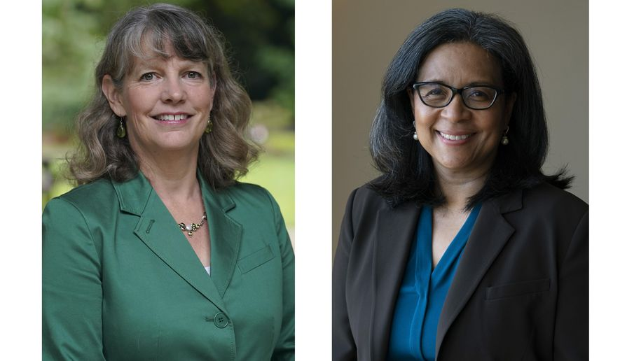 This combination of Friday, Sept. 25, 2020 photos shows State Rep. Beth Doglio, left, and former Tacoma Mayor Marilyn Strickland in Wash. Both women are Democrats and are facing each other in the election for the next representative of Washington's 10th congressional district. (AP Photo/Ted S. Warren)