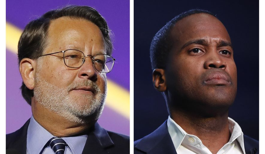 FILE - In this combination of 2018 and 2019 file photos are, from left, Democratic U.S. Sen. Gary Peters, D-Mich., and Republican U.S. Senate candidate John James. Money is abundant in Michigan's competitive U.S. Senate race between Peters and James. A campaign-finance expert projects spending will top a staggering $100 million by Election Day. (AP Photos, File)