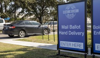 Signs direct traffic at a drive-through ballot drop off location at the Travis County Tax Office in Austin, Texas, on Thursday Oct. 1, 2020. (Jay Janner /Austin American-Statesman via AP)