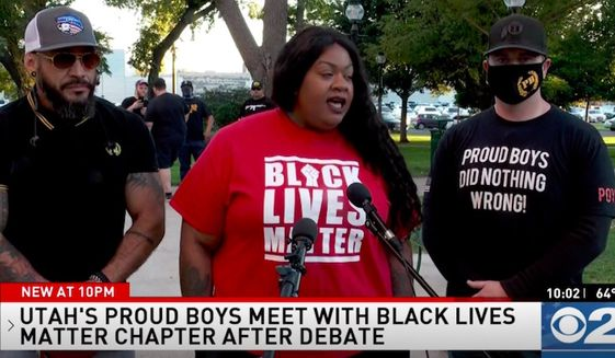 """Local leaders of the right-wing Proud Boys group in Salt Lake City, Utah, held a joint news conference with a local Black Lives Matter leader on Wednesday, Sept. 30, 2020, to correct the record and """"denounce White supremacy"""" after President Trump mentioned them during Tuesday's first presidential debate. (Screengrab via KUTV)"""